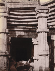 Close view of portion of ceiling of ruined temple at Rahilya, Hamirpur District